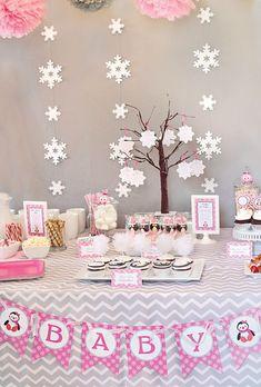 winter wonderland party ideas | Cozy Pink Penguin Winter Wonderland Baby Shower
