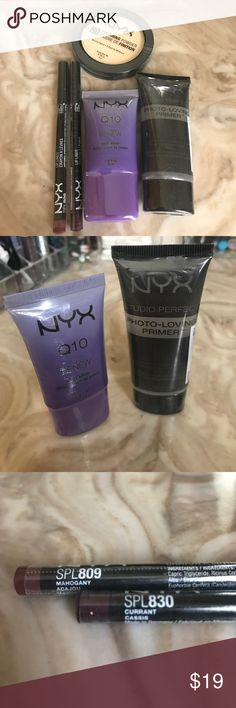 NYX lot each piece is brand new and in the plastic wrapping. one - finishing powder in HDF02 banana. one - photo loving primer. one - Q10 renew skin elixir. two - lip pencils in 809 mahogany and 830 currant. NYX Makeup Face Primer