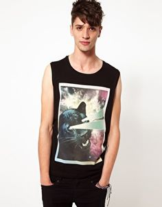 Enlarge ASOS Sleeveless T-Shirt With Panther Print