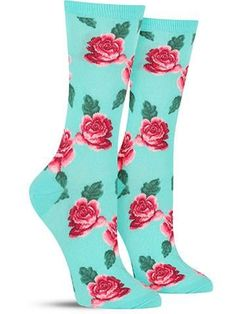 These cool rose socks feature a lovely floral print of your favorite blooming buds! #sockscute