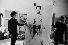 """Bob Dylan at the Factory at 231 East 47th street, New York, 1965 - """"Double Elvis"""" - Andy Warhol"""