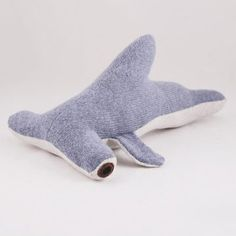 Hammerhead shark made of Recycled sweaters and vintage cotton fabric; love it!