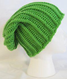 long slouch beanie bright green hand crochet unisex by jeniebug76, $18.00
