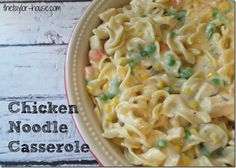 CHICKEN NOODLE CASSEROLE INGREDIENTS 2 cups uncooked egg noodles 2 cups cubed cooked chicken 1 package {16oz.}  frozen peas, carrots, beans and corn 1 cup milk 1 can Cream of Chicken Soup 1 Can Cream of Mushroom Soup 1/2 tsp. Salt 1/2 tsp. Pepper 1/2 cup Chopped onion 2 TBSP. Melted Butter 1/2 tsp. Garlic Salt 1/2 tsp. Italian Seasoning