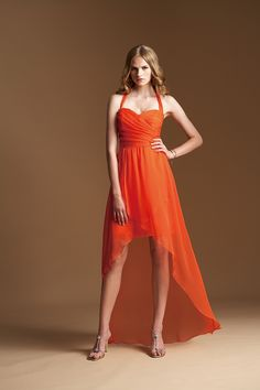 2015 Zipper Up Halter Sleeveless Chiffon High Low Orange Bridesmaid / Prom Dresses By Jasmine L154021