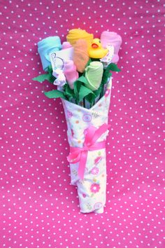 Baby Bouquet for Infant Girl Newborn Baby Gift by babyblossomco