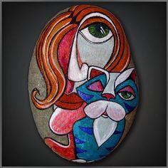 : نقاشی روی سنگ کار همسرم  #نقاشی_روی_سنگ #نقاشی_با_آکریلیک #نقاشی…
