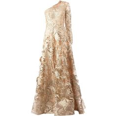 Georges Mak 'Jessika' one shoulder embroidered dress (4,676 CAD) ❤ liked on Polyvore featuring dresses, gowns, long dresses, vestidos, beige dress, one long sleeve dress, embroidered dress and one shoulder gown