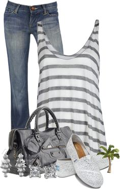 Casual Outfit for Spring. Grey and white striped tank with jeans and lace Toms. Great grey purse to match. Fashion Moda, Look Fashion, Womens Fashion, Fall Fashion, Mode Outfits, Casual Outfits, Fashion Outfits, Fasion, Looks Style