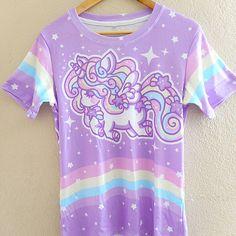 ☆ rainbow stardust alicorn ☆ all over print t-shirt made to order ✧ fairy kei ✧ decora kei
