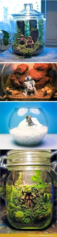 Star Wars Terrariums Are Awesome And For Sale Awesome Star Wars Terrariums.and I shall be doing these with my little star wars loving daughters!and I shall be doing these with my little star wars loving daughters! Diy Aquarium, Aquarium Decorations, Aquarium Design, Aquarium Ideas, Aquarium House, Star Wars Party Decorations, Garden Decorations, Room Decorations, Christmas Decorations