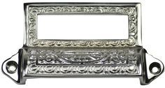Solid Brass Eastlake Style Bin or Cup Pull (Polished Chrome Finish) - measures 4 1/8 inches long and 2 1/4 inches tall.