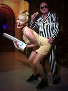 Pin for Later: Double Trouble: Hollywood's Halloween Costume Copycats  Crystal Harris and Hugh Hefner also channeled Miley Cyrus and Robin Thicke in 2013.