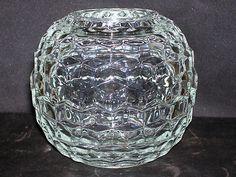 Fostoria American Glass Crystal   Cubist 2 Piece Round Fairy Lamp   Votive Candle Holder