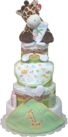 TOWEL BABY SHOWER CAKES | Layer Giraffe Towel Diaper Cake