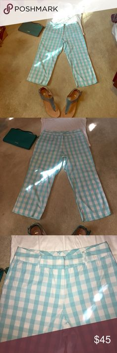 NWOT Lilly Pulitzer capris size 10 NWOT. Lilly Pulitzer aqua and white checkered capris with side pockets. Size 10. Lilly Pulitzer Pants Capris