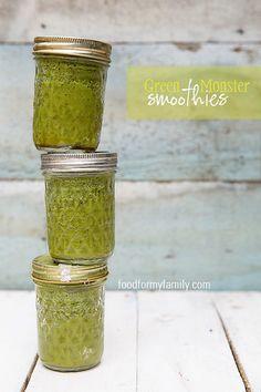 Green Monster Freezer Smoothies #recipe via FoodforMyFamily.com