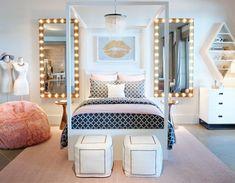 meuble bout de lit pouf dans la chambre design