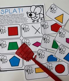 Fun geometry game for polygons and quadrilaterals - give clues and then students swat the right answer! Great for math centers or early finishers.