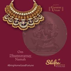 May Lord Ganesha shower you with success in all your endeavors. Bring home good fortune in these festive days! Antique Jewelry, Gold Jewelry, Gold Necklace, Ganesh Utsav, Jewellery Showroom, Jewellery Sketches, Lord Ganesha, Jewelry Patterns, Necklace Designs