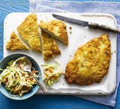Chicken schnitzel with coleslaw BBC Good Food
