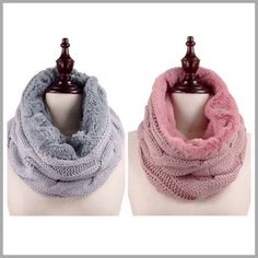 Cable knit Fuzzy Fur Infinity Scarves Gorgeous warm fuzzy faux fur and cable knit infinity scarves. Color rose or grey. Threads & Trends Accessories Scarves & Wraps