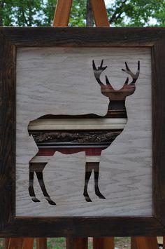 Rustic Deer Original Reclaimed Wood Art 3D, Recycled Wood Art, Salvaged Wood Art on Etsy, $159.00