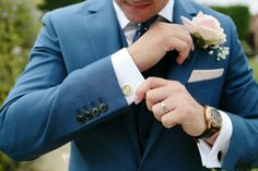 love this groom's blue suit from Reiss! Dasha Caffrey Photography
