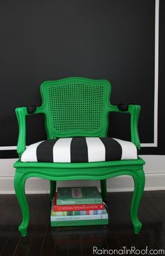 Love this green chair from Rain on a Tin Roof!