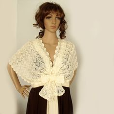 Knit capelet Lace knit shawl Bridal wedding by allmadewithlove