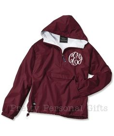 Pull Over Windbreaker Jacket with monogram - fully lined with hood