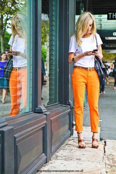 bright orange pants & Hermes belt