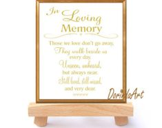 Wedding Memorial Table In Loving Memory Printable By Dorindaart