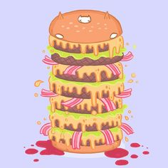 #DEATHBURGER !!!!!! My #illustration submission for #lifeformdrawingclub #lifeform - this week's theme is #DEATH  #deathbyburger #burgercat #remix #fastfoodcats