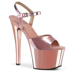 Beautiful Pleaser Women's Rose Gold Metallic Pu Chrome Platform Ankle Strap Sandal Fashion Women Shoes from top store Metallic Look, Metallic Heels, Rose Gold Chrome, Stripper Shoes, Closed Toe Shoes, Spike Heels, Shoe Size Conversion, Ankle Strap Sandals, Shoes Sandals