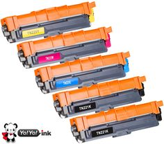 YoYoink 5 Pack Compatible Toner Cartridge Replacement for Brother TN221 TN225 (2 Black, 1 Cyan, 1 Magenta, 1 Yellow) MFC-9340CDW HL-3170CDW