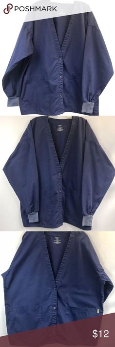 "Tafford Womens Scrub Jacket Blue Medical Uniform Women's Tafford Scrub Jacket Top   Size: XL  Measurements are taken with the garment laying flat and are approximate:  Shoulder: 25"" across  Bust: 27"" across  Length: 28 3/4""  Sleeve Length: 22 1/2""  Color: Blue Tafford Jackets & Coats"