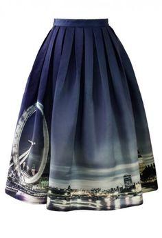 Night Skyline of London Print Midi Skirt via Chic Wish.