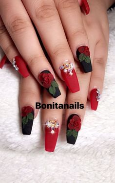 Black and red nails, wtih pearls and red acrylic roses Nail Art~! Black and red nails, wtih pearls and red acrylic roses Nail Art~! Rose Nail Design, Rose Nail Art, Red Nail Designs, Rose Nails, 3d Nails, Acrylic Nail Designs, Nails Design, 3d Nail Art, Tulip Nails