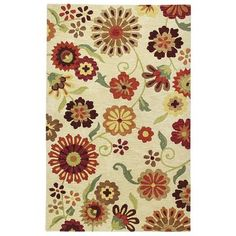 A riot of stylized, sun-washed daisies pops against a field of warm gold. Hand-tufted in India of pure natural wool, it's like walking barefoot through a meadow of flowers. And way better than tiptoeing through the tulips.
