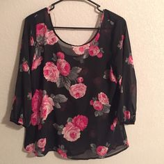 Floral Bow-Back Spring Blouse Perfect condition and perfect for spring! Never worn Charming Charlie Tops Blouses