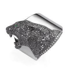 de Grisogono Black Diamond Panther Bracelet: This black diamond bracelet is from jewelry designer de GRISOGONO and features pave black diamonds set in the shape of a panther.