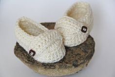 Baby Booties Cream Loafers with Vintage Square Button Detail. $25.00, via Etsy.