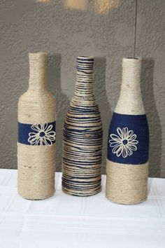 Set of 3 Custom Wrapped Wine Bottles Jute by DragonflyDaisies by lorrie