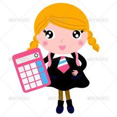 Blond School Girl with Calculator