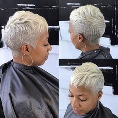 These short black hairstyles truly are trendy. Short Grey Hair, Short Blonde, Short Hair Cuts, Short Hair Styles, Pixie Cuts, Gray Hair, Short Sassy Haircuts, Short Black Hairstyles, Girl Hairstyles