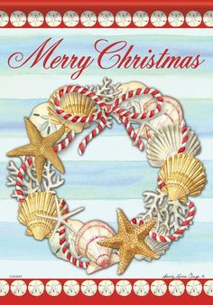 Seashells, sand dollars, starfish and coral are all cleverly arranged to create this beautiful Christmas on the beach themed house flag. Beach Christmas, Coastal Christmas, Christmas Design, Beautiful Christmas, Merry Christmas Message, Christmas Messages, Flags For Sale, Seashell Wreath, Mini Flags