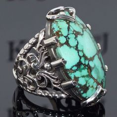 Ring Turquoise Silver Sterling 925 Men Mens Handmade natural Persian Firoza #KaraJewels #Handmade