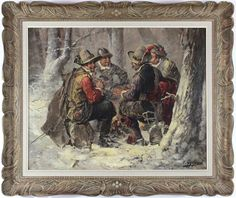 A slightly romantic yet realistic depiction of four friends. Despite the cold, inhospitable surroundings, we can feel a sense of warm camaraderie. #oilpainting #friends #antart