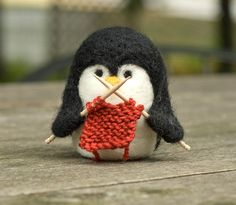 Needle felted penguin ornament - knitting - by ScratchCraft